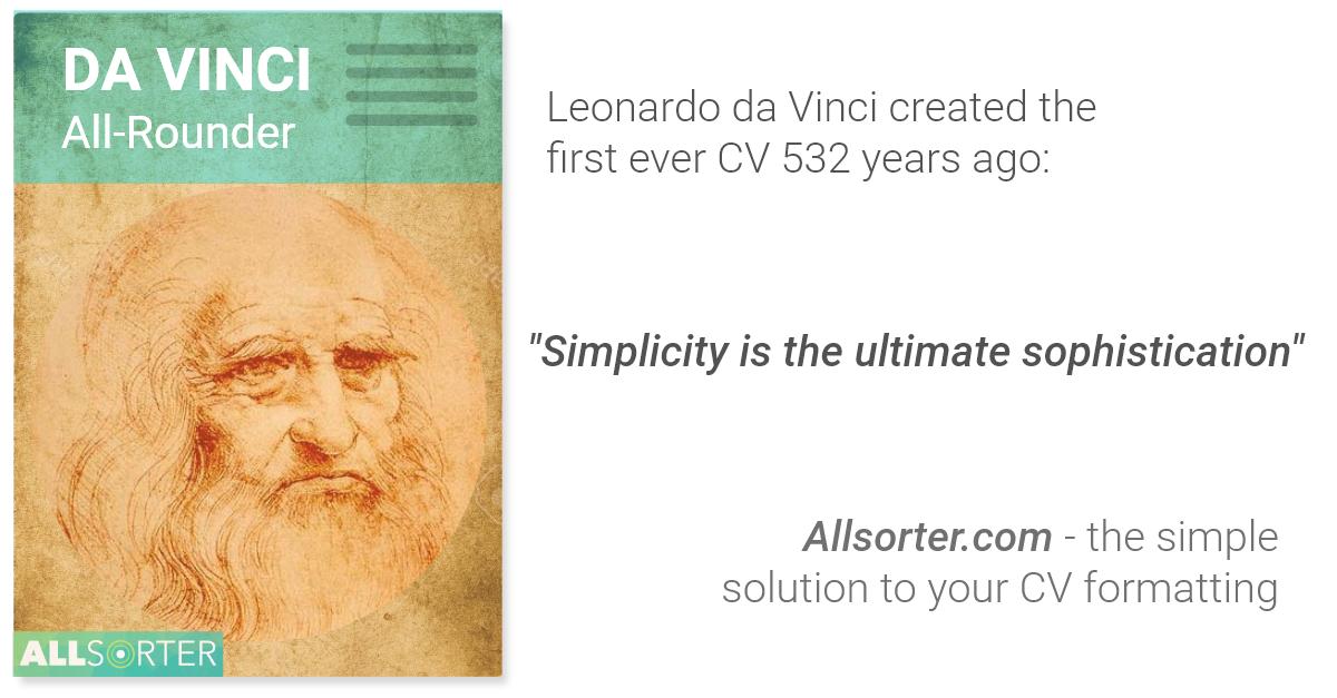 CV formatting Leonardo da Vinci